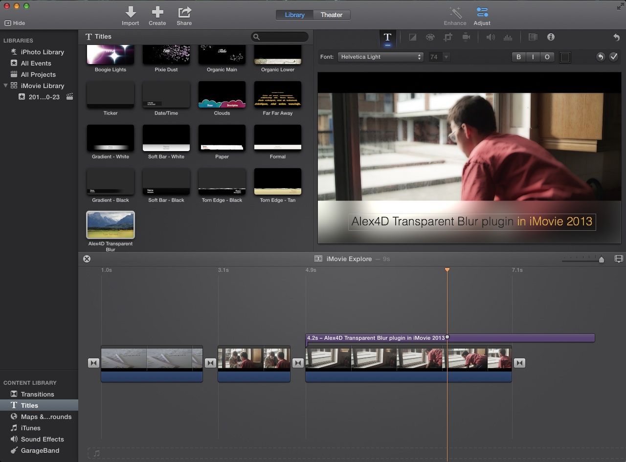 Alex4D plugin running in iMovie 2013