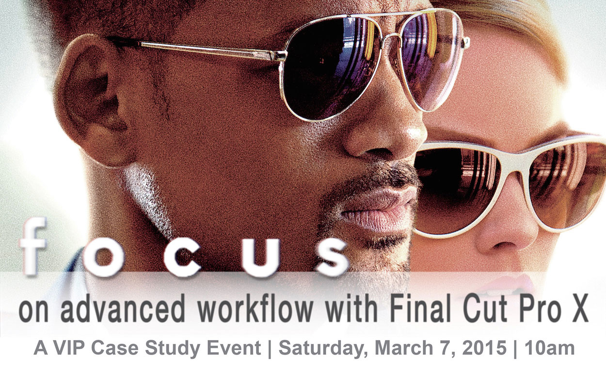 Logo of LA event on the post workflow for Will Smith film Focus