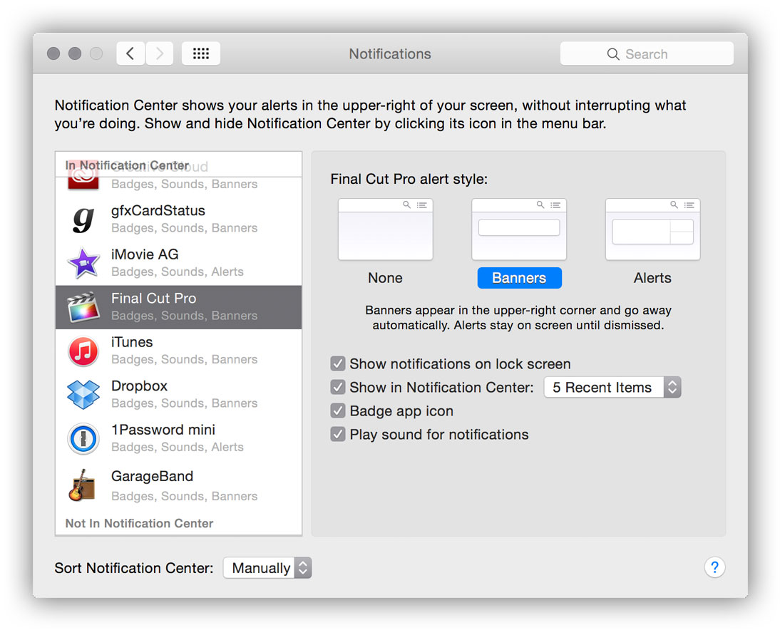 Screenshot showing Final Cut Pro selected in the Notifications pane of System Preferences