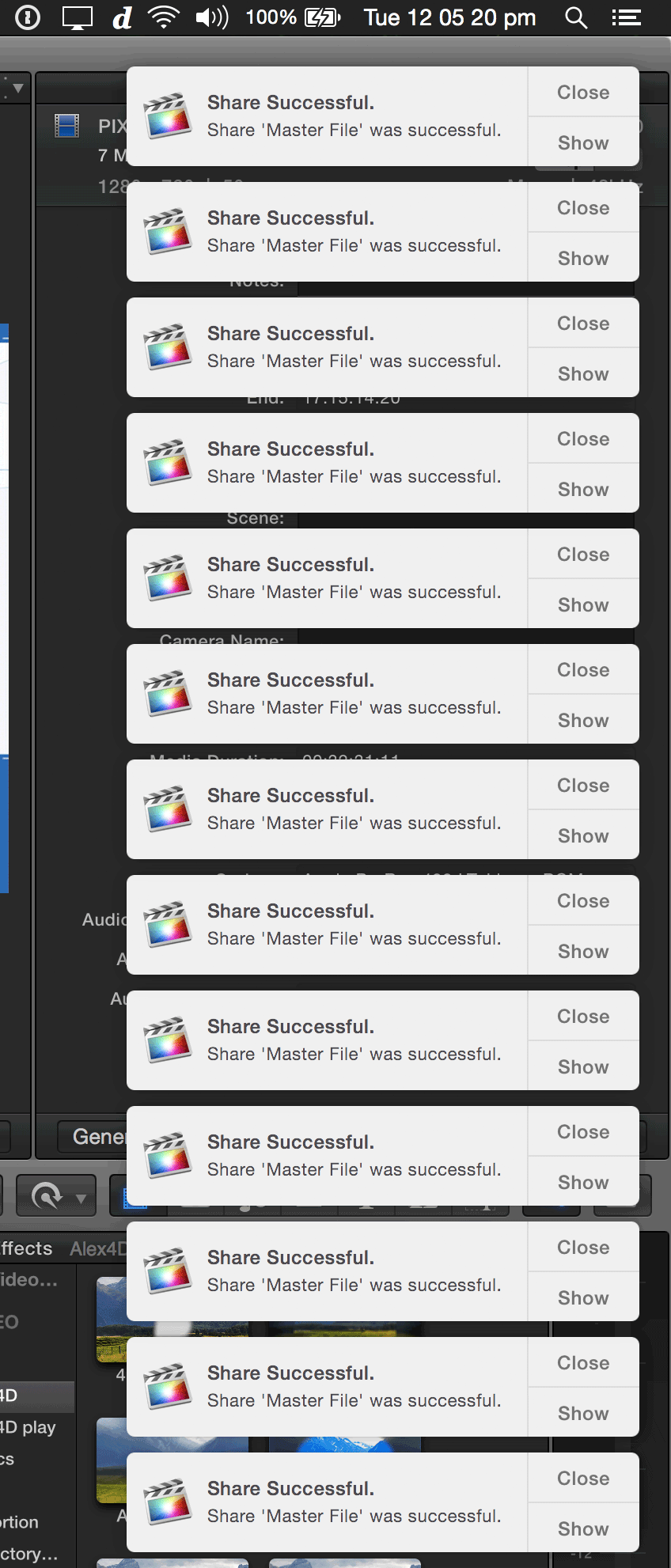 Screenshot of many alerts produced during a Final Cut Pro X export session