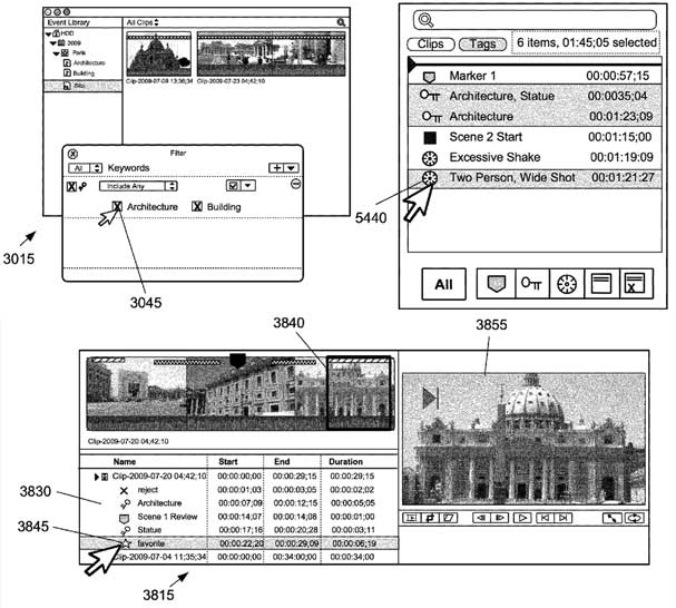 Sample illustrations from Apple's Final Cut Pro X keyword patent