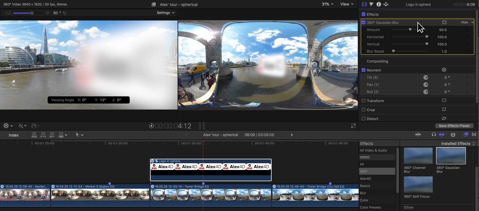 Final Cut Pro & 360° spherical video - All you need to know | Alex4D