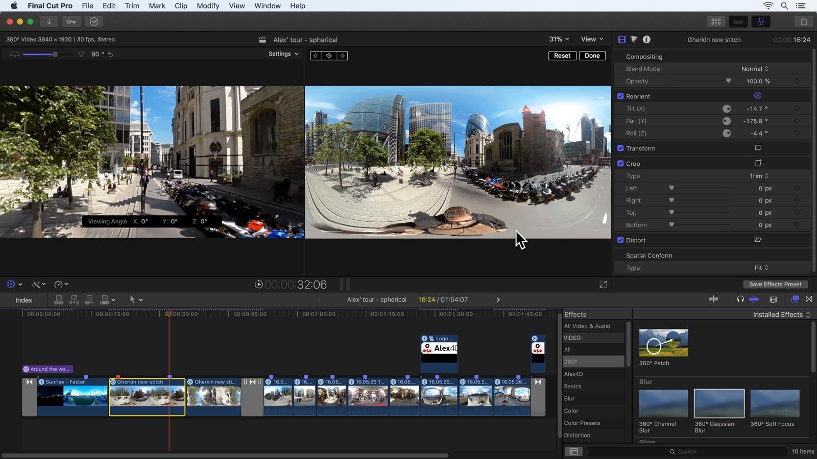 Apple Final Cut Pro 10 4: 360º spherical video, colour