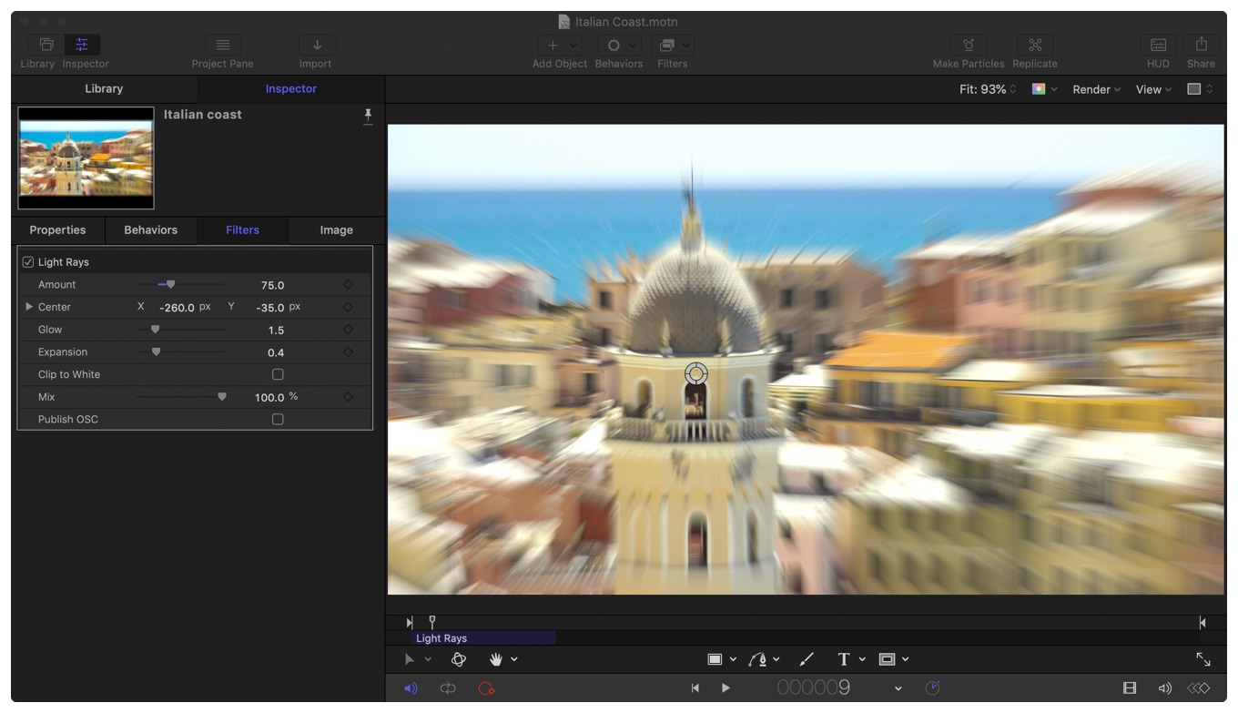Screenshot of a filter being applied to an image in Apple Motion